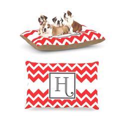 Kess InHouse Chevron Red Fleece Dog Bed, 30 by 40-Inch, Mono