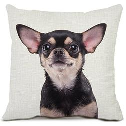 Chihuahua Dog Decorative Throw Pillow Covers Cotton Linen Sq