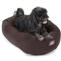 24 inch Chocolate Suede Bagel Dog Bed By Majestic Pet Produc