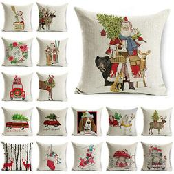 Christmas Cushion Cover Dog Santa Claus Reindeer Throw Pillo
