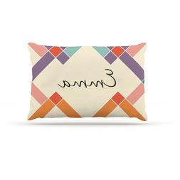 "Kess InHouse ""Emma"" Colorful Geometry Name Fleece Dog Bed, 3"