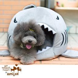 Colorfulhouse Shark Round House Puppy Bed with Pet Bed Mat,