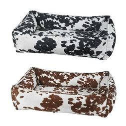 Bowsers COW PRINT MicroVelvet Urban Lounger Nesting Dog Bed