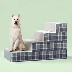 Zinus Cozy Pet Stairs/Pet Ramp/Pet Ladder/Grey Checked, Larg