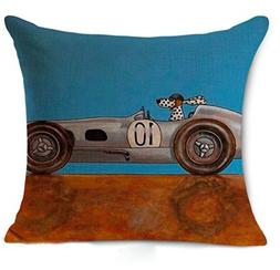 Cushion Cover with Dog Driver Design, Decorative Pillowcase