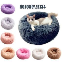 Cute Pet Dog Cat Calming Bed Round Nest Warm Soft Plush Comf