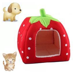 KingMas Cute Soft Sponge Strawberry Pet Cat Dog House Bed Wa