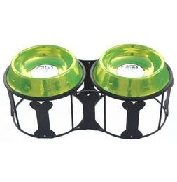 Platinum Pets Deluxe Bone Double Diner with Two Pet Bowls