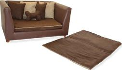 Deluxe Orthopedic Memory Foam Dog Bed Set, Large, Brown