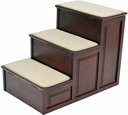 Crown Pet Products Designer Steps with Storage, Espresso