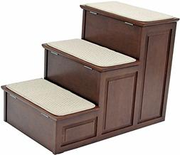 Crown Pet Products Designer Steps with Storage, Mahogany
