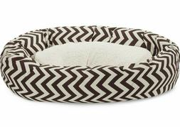 dog bed chevron sherpa chocolate brown bed
