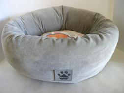 """DOG BED DONUT 17"""" ROUND PLUSH CORDUROY PINK AND GREY"""