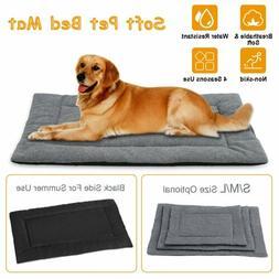 Dog Bed Mat Fleece Pet Dog Crate Carpet Reversible Pad Cushi