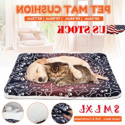 Pet Bed Soft Cushion Dog Cat Crate Mat Warm Pad Liner Home I