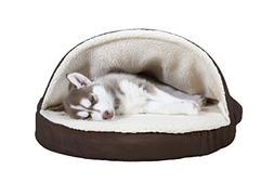 FurHaven Pet Dog Bed | Orthopedic Round Faux Sheepskin Snugg