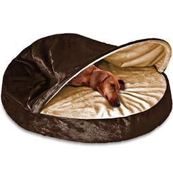 FurHaven Pet Dog Bed | Orthopedic Round Microvelvet Snuggery