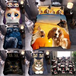 Dog Cat Kitten Duvet Cover Set Animal Print Quilt Comforter