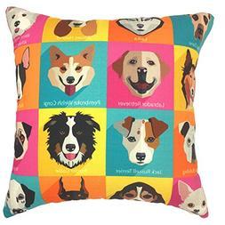 YOUR SMILE Dog Family Cotton Linen Square Decorative Throw P