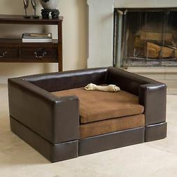 Dog Large Pet Leather Bed Sofa Faux Brown Couch Cat Soft Woo
