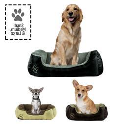 Dog or Cat Pet Bed Rectangle Plush Cuddler, Small, Medium or