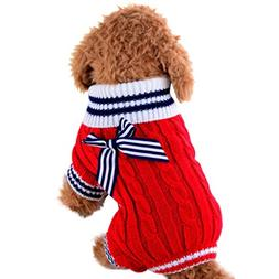 Mikey Store Pet Dog Clothes Soft Thickening Warm Stripe Pola