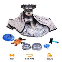 Dog Toy Set Pet Bed Glove Blanket Ball Brush Feeding Bowl Tr