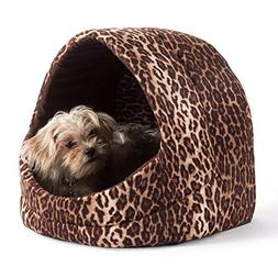 Doggy/Kitty Hut Bed, Brown Leopard Print