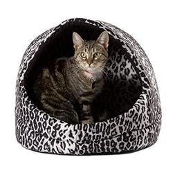 Doggy/Kitty Hut Bed, Black Leopard Print