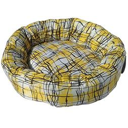 Iconic Pet Standard Donut Bed Large, Yellow, Multi