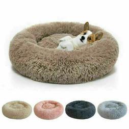 Donut Pet Dog / Cat Bed Fluffy Plush Soft Warm Calming Sleep