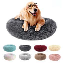 Donut Pet Dog Cat Calming Sleeping Bed Ultra Warm Soft Long