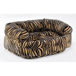 Diamond Microvelvet Double Donut Pet Bed - Pecan Filigree