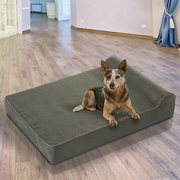 "PawHut Double Liner Dog Bed 52"" x 36"" Orthopedic Memory Foam"