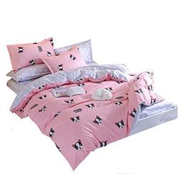 Duvet Cover Set with Zipper -Pink Gray Dog Pattern For Girls