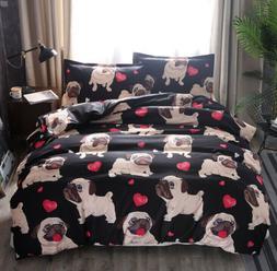Duvet Quilt Cover Set Pug Puppy Dog Bedding Set Cartoon Soft