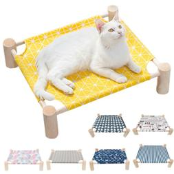 Elevated Small Cat Dog Bed House Cat Hammocks Wood Canvas Lo