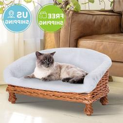 Elevated Surround Wicker Dog Cat Pet Bed with Padded Cushion
