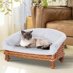 PawHut Elevated Wicker Small Plush Pet Sleeping Bed Elevated