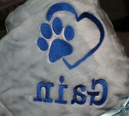 Embroidered Monogrammed Pet Dog Blanket for Car, Crate, or C