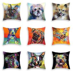Fashion Watercolor Dog Print Sofa Cushion Cover Throw Pillow