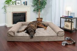 FurHaven Pet Faux Fleece & Chenille Soft Woven Sofa Dog Bed