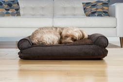 FurHaven Pet Faux Fleece & Chenille Soft Woven Pillow Sofa D