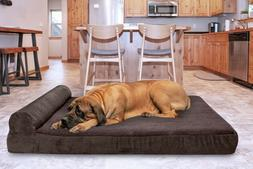 FurHaven Pet Faux Fleece & Corduroy Chaise Lounge Orthopedic