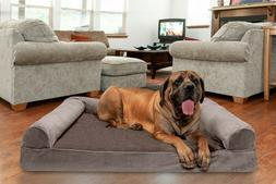 FurHaven Pet Faux Fur & Velvet Sofa Dog Bed