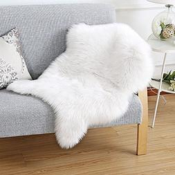 HAOCOO Faux Fur Rug White Shag Fuzzy Fluffy Sheepskin Kids C