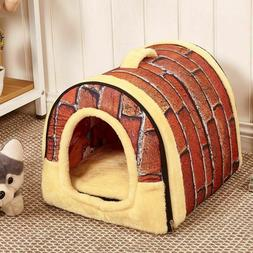 Foldable Dog Cat House Kennel Nest With Mat Cloth Travel Pet