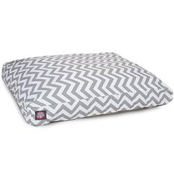 Gray Chevron Large Rectangle Indoor Outdoor Pet Dog Bed With