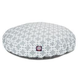 Gray Links Medium Round Indoor Outdoor Pet Dog Bed With Remo