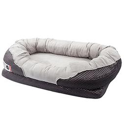 "BarksBar Grey Large Orthopedic Dog Bed - 40"" x 30"" - Snuggly"